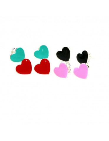 925 silver earrings with enameled heart 10mm