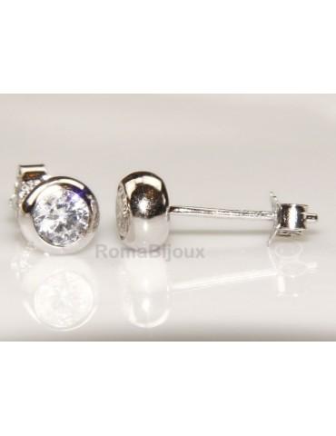 Argento 925 : orecchini donna uomo cipollina 4 mm zirconi bianchi