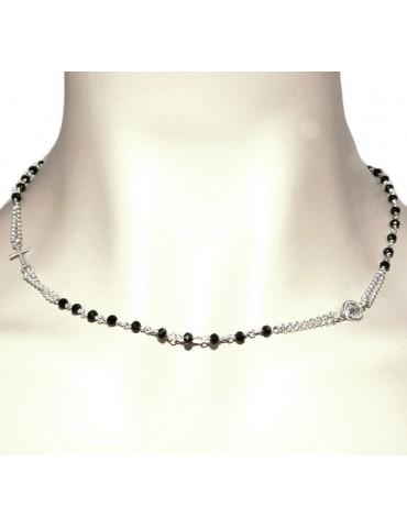 NALBORI Collana intera a rosario Argento 925 con cristallo nero