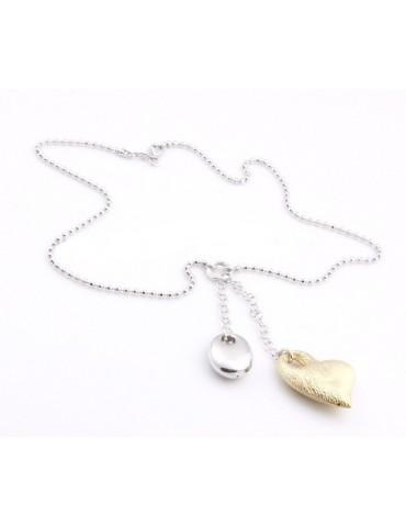 ARGENTO 925: Girocollo palline diamantate Faux Saliscendi con Ciondolo Cuore Giallo