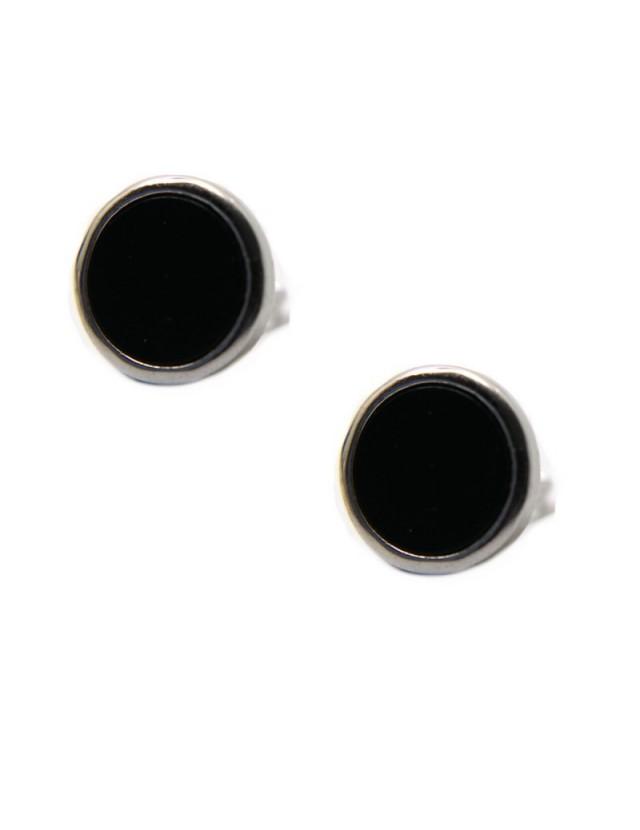 orecchini  bottone di onice 12mm argento 925 anallergico