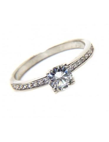 NALBORI 925 silver solitaire ring 5 mm with half riviera