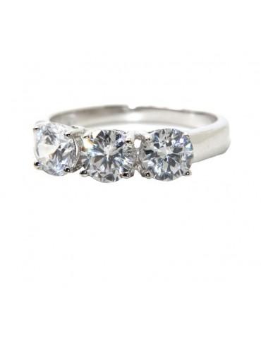 anello trilogy argento 925 con zirconi bianchi da 0,5 - N9134194