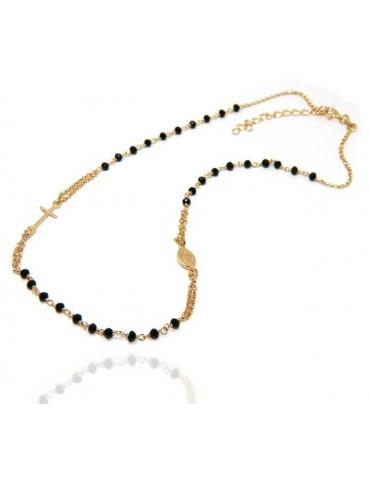 rosario a collana in argento 925 bagno oro giallo con cristallo nero girocollo NALBORI