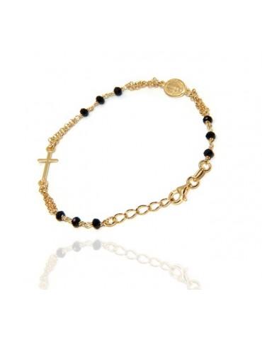 NALBORI Bracciale rosario in Argento 925 bagno oro giallo cristallo nero