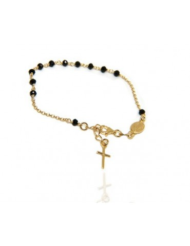 NALBORI Rosary bracelet in 925 silver plated yellow gold with cross pendant
