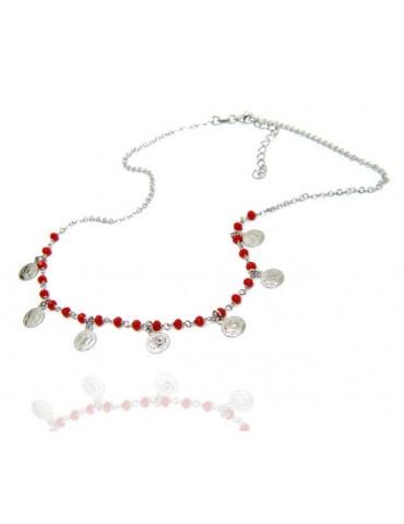 NALBORI Collana Argento 925 monetine cristallo rosso marsigliesi