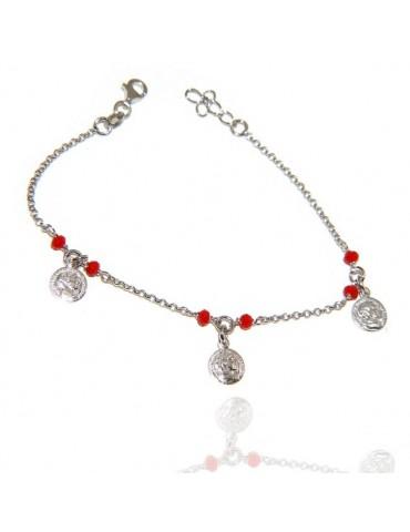NALBORI Bracciale Argento 925 cristallo rosso con ciondoli monete
