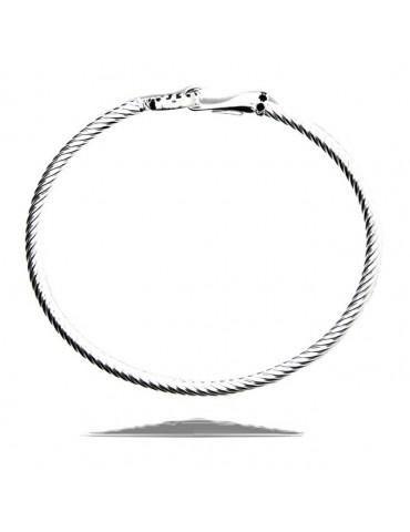 NALBORI Cable bracciale gancio tondo zirconi neri argento 925