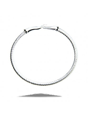 NALBORI Cable 925 silver hook bracelet and black stones