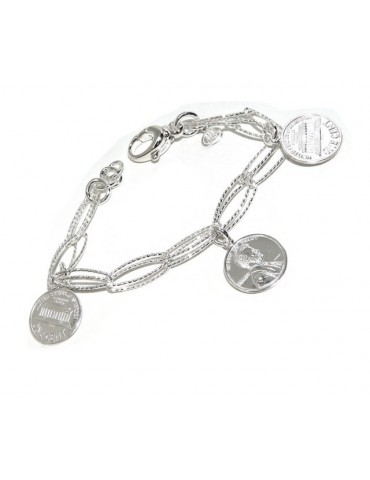 bracelet made entirely of 925 silver with double diamond chain and coin pendants (US cents)