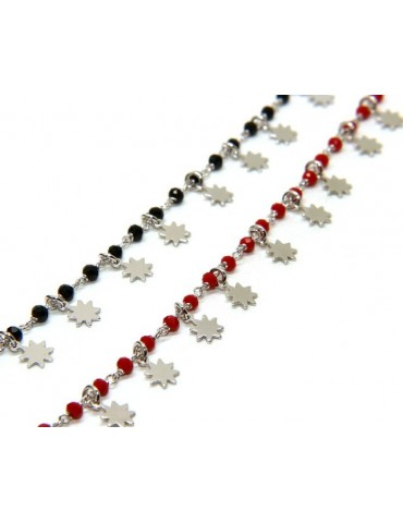 NALBORI 925 Silver bracelet with red or black sun pendants