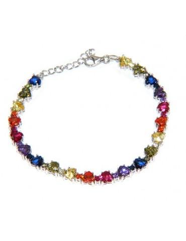 NALBORI Bracciale cuori colorati tennis argento 925 e zirconi arcobaleno