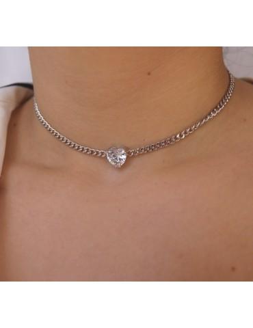 Choker grumetta cuore grande collana zircone argento 925