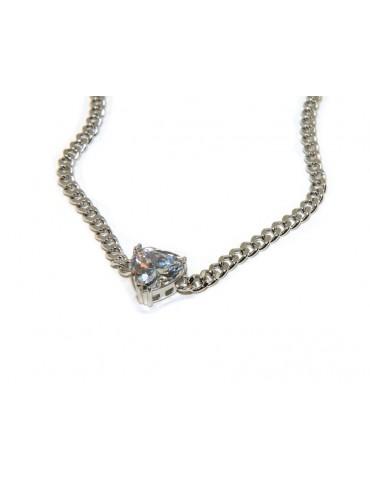 NALBORI collana choker zircone cuore grande argento 925
