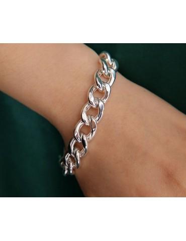 NALBORI maestoso bracciale donna grumetta diamantata grande 13 mm argento 925