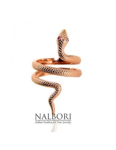 Anello serpente in argento 925 bagnato in oro rosa con occhi zirconi rosso rubin