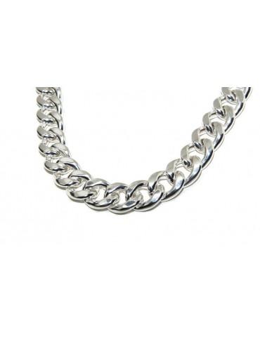 NALBORI Collana o bracciale grumetta grande 17,5 mm argento 925 diamantata grande enorme