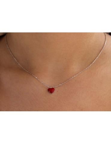 Collana argento 925 con cuore rosso smaltato per donne