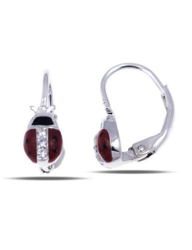 Orecchini argento 925 monachella coccinella rossa zirconi