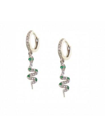 NALBORI orecchini argento 925 ciondoli serpenti con zirconi