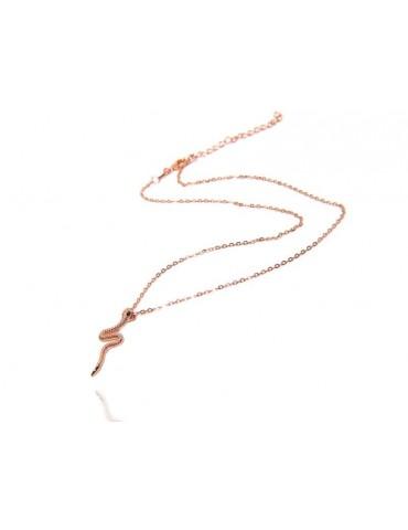 NALBORI collana serpente argento 925 placcata in oro rosa  zirconi blu zaffiro