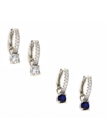 NALBORI orecchini con ciondoli che si tolgono argento 925 zirconi e punto luce