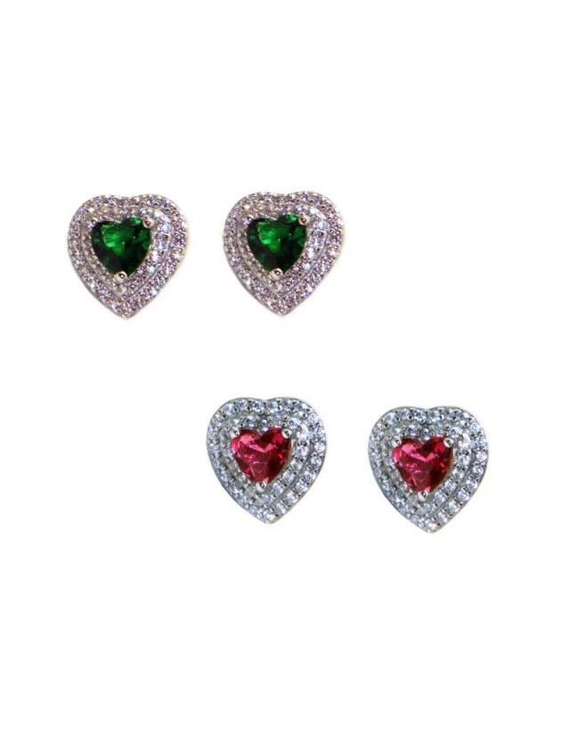 orecchini cuore argento 925 rubin emerald doppio giro zirconi
