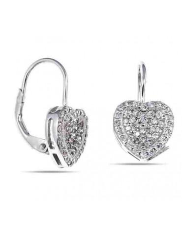 NALBORI Orecchini argento 925 monachelle cuore micropavè di zirconi donna