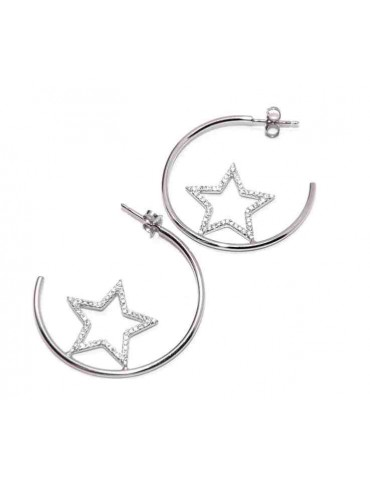 orecchini argento 925 a cerchio con stelle di zirconi NALBORI