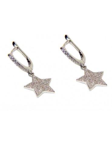 orecchini argento 925 a cerchio con stelle ciondoli di zirconi NALBORI