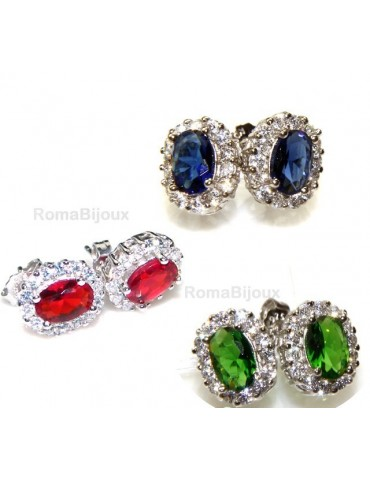 silver 925 : woman stud button earrings oval stone green blue red 9x7mm zircons