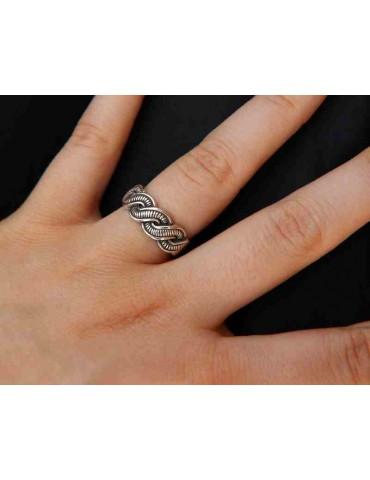 NALBORI Anello in argento 925 scuro con treccia intrecciato regolabile aperto, per uomo e donna