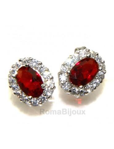 silver 925 : woman stud button earrings oval stone green blue red 9x7mm zircons
