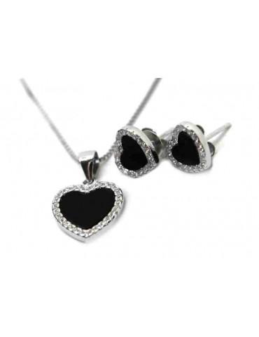 NALBORI orecchini e collana a cuore in argento 925 con onice e giro di zirconi