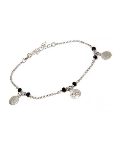 NALBORI Bracciale argento 925 cristallo nero con monete linea marsigliesi