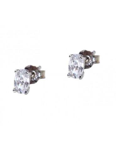 orecchini ovali con zircone argento 925 rodiato, un paio