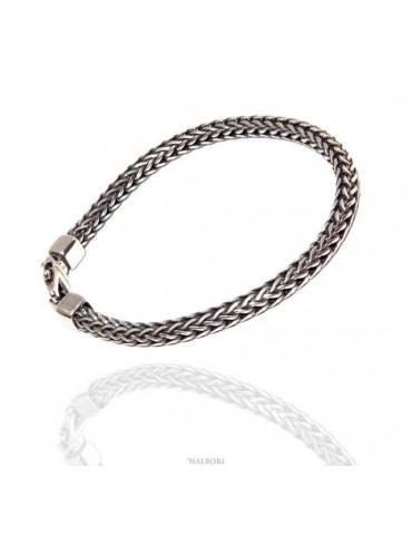 bracciale argento 925 snake scuro squadrato da uomo 19 cm - N1284