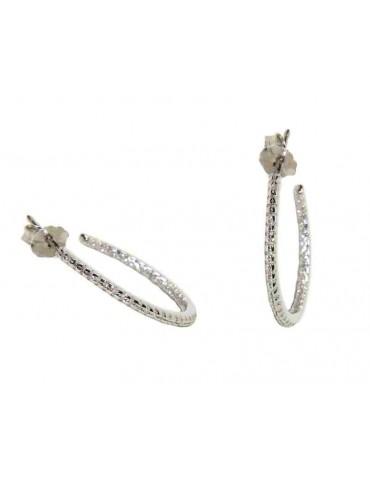Orecchini zirconi interno esterno cerchi argento 925 20mm 2cm marca nalbori produzione gioielli