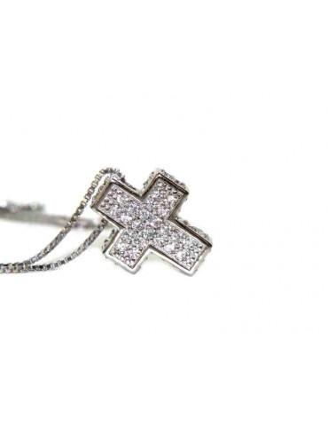 Collana croce 3D scatolata a pavè di zirconi con collana marca di gioielli NALBORI