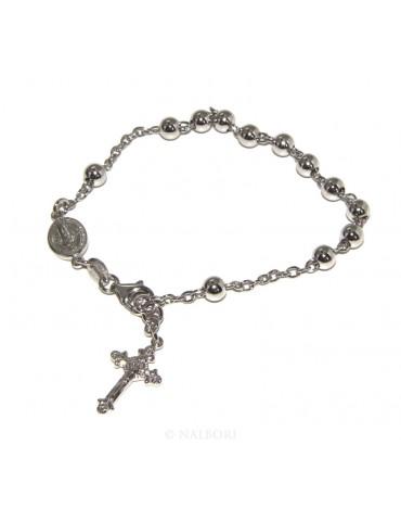 Bracciale rosario Argento 925 palline da 5 mm rodiato - N0682