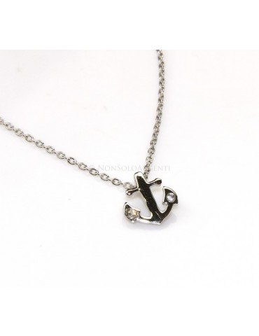 "silver 925: Necklace Collier man woman ""forzatina"" 40 + 3 and small anchor white zirconia"