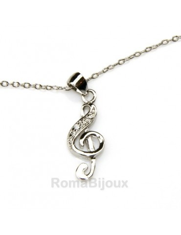 silver 925: man woman anklet bracelet with pendant clef white zirconia