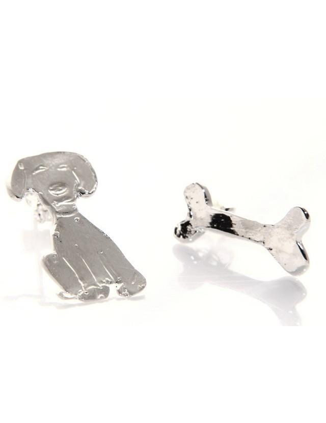 argento 925 : orecchini CANE e OSSO i donna HAND MADE Massiccio argento 925