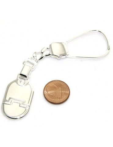 Portachiavi uomo o donna targa lavorata ovale lucida tutto in Argento 925 Massiccio 16 gr