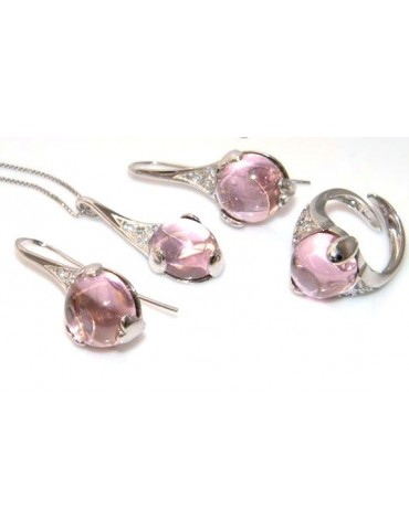 Argento 925 : esclusiva parure collana anello ciondolo e orecchini ad amo con zirconi e carbochon rosa acceso