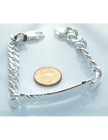 SILVER 925: Bracelet man massive chain gourmette plate reliefs 20.50 cm 26.30 gr