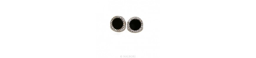 Catégorie lights and shadows - NALBORI : Stamped 925 silver : one pair of earrings 10mm man woman button black onix circle zi...